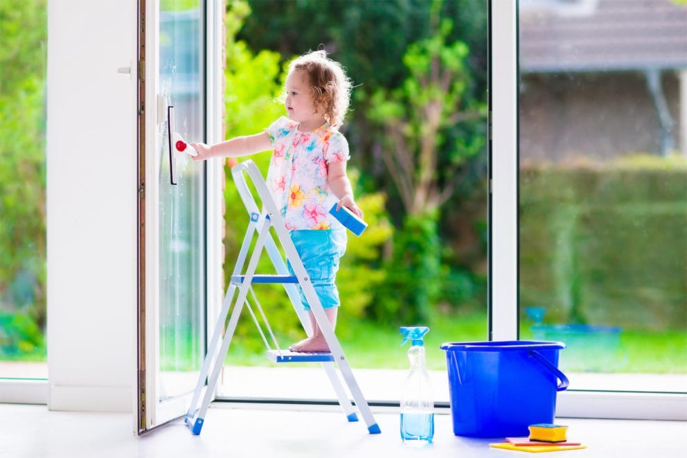 icosawater girl cleaning windows